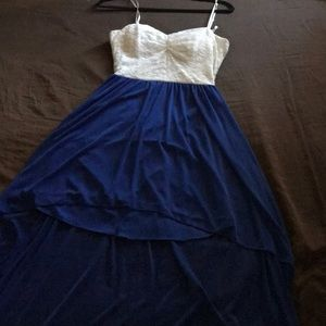 B darlin long blue and white lace dress